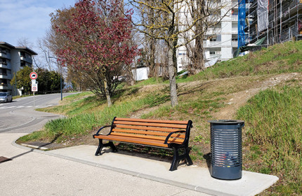 Centaure seats and Contemporary litter bins in Saint-Julien-en-Genevois (France)